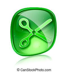 tijeras, icono, verde, vidrio, aislado, blanco, Plano de...