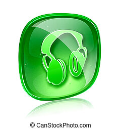 headphones icon green glass, isolated on white background.