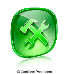 Tools icon green glass, isolated on white background.