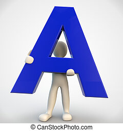 3D human character holding blue letter A