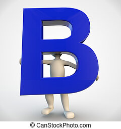 3D human character holding blue letter B