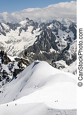 Mountaineering people at snow land of Mont Blanc in...