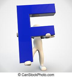 3D human character holding blue letter F