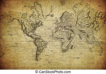 1814, Landkarte, Welt, Weinlese