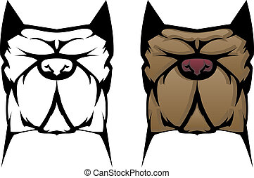 Pit Bull Dog - Illustration and outline of a pitbull or...