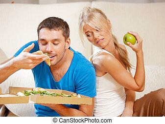 pareja, comida, diferente, alimento