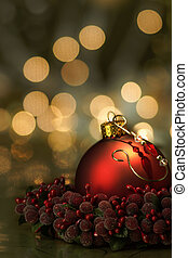 Red Ornament Holiday Background