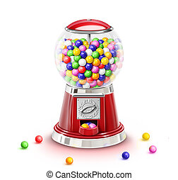 Illustrated Gumball Machine Full - Illustrated Whimsical...