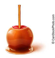 Illustrated Caramel Apple with Cinnamon Stick