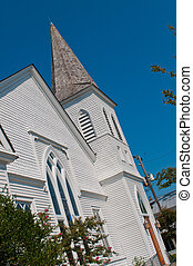 Church Spire - White and gray church steeple or spier set...