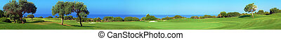 Panorama of Golf field, sea and olives - Wide panorama of...