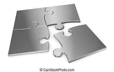 puzzle pieces - close up of metal puzzle pieces (3d render)