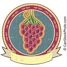 Red grapes label with scroll for text on old grunge paper