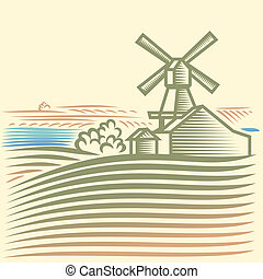 Windmill - Rural landscape with Windmill