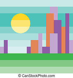 minimalist color cityscape with the sun in the sky