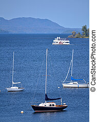 Lake Memphremagog Sail Boats - Sail boats moored on lake...