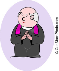 Priest - Praying priest, easy to add to a larger...
