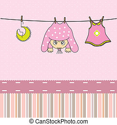 Baby gir arrival announcement card. - Baby girl arrival...