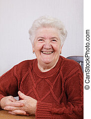 Old lady - Portrait of  smiling senior woman in her room