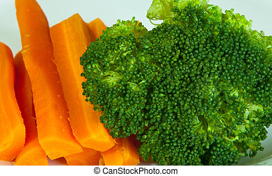 broccoli and carrot on the dish