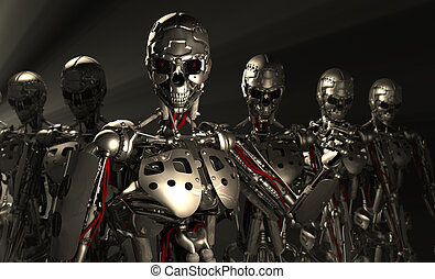 Advanced robots - 3d render of advanced robots