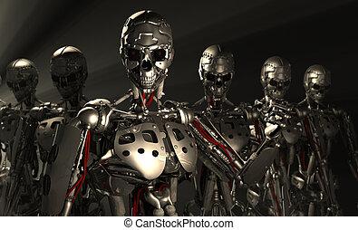 Advanced robots - 3d render of advanced robots