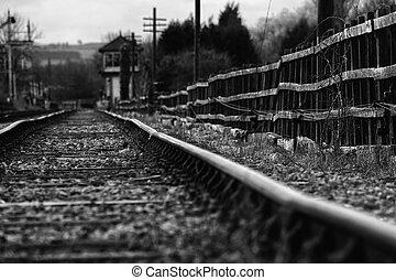 浮浪者, 列車, セット, 軌道に沿って進む
