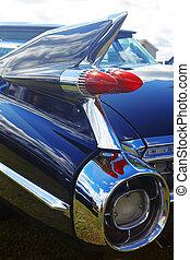 Detail of blue retro car