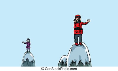 Mountaintop Phone Conversation - Cartoon people talk on...