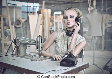 Sexy woman with a phone