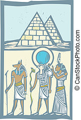 Hieroglyph Pyramids - Anubis and Horus with Pyramids...