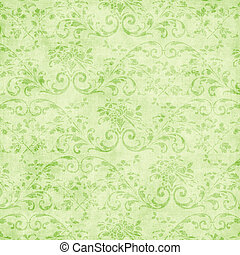 Vintage Pale Green Floral Tapestry - Worn light green floral...