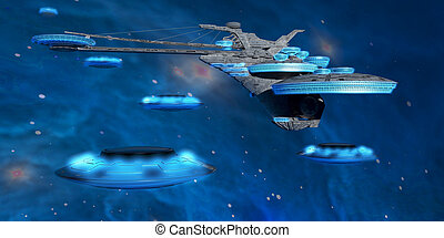 Blue Nebula Expanse - Flying saucers come back to a...