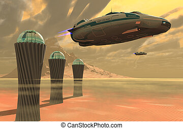 Desert Planet - Two spacecraft takeoff from a colony which...