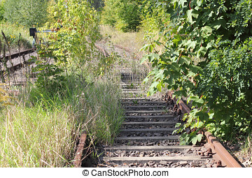Decommissioned Dead-end tracks - The railway line between...