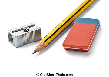 lápiz, borrador, afilador, escuela, educación