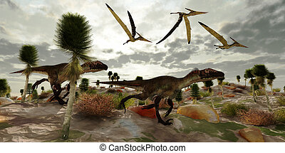 Utahraptor Hunt - Three Pterosaur reptile dinosaur fly along...