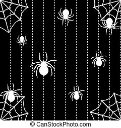 Spiders and web seamless background - Halloween seamless...