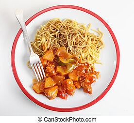 Chicken sweet and sour high angle