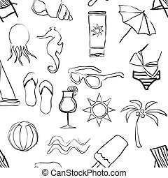 doodle beach seamless pattern