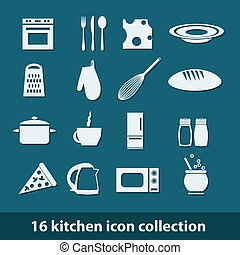 kitchen icons - 16 kitchen icon collection