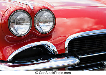 Vintage Sports Car Headlights - A closeup of the headlights...