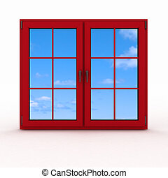 closed plastic window - 3d closed plastic window on white...