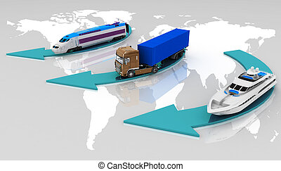 types of transport - types of transport on a map of the...