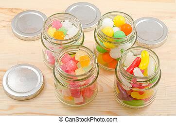 dulces, tarros, arreglado, paralelogramo