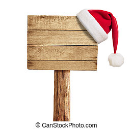 wooden signboard with Christmas hat isolated on white