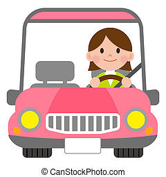 Woman in a pink convertible