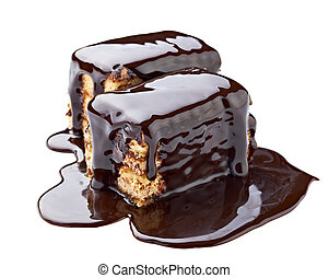 chocolate syrup and cake sweet dessert food - close up of a...