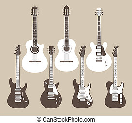 acoustic and electric guitars - Vector silhouettes of...