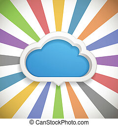Speech cloud template with the color rays